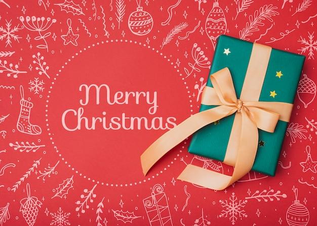 Bovenaanzicht van kerstcadeau mock-up Gratis Psd
