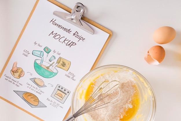 Bovenaanzicht van koken thuis concept mock-up Premium Psd