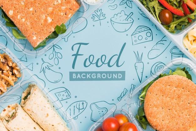 Bovenaanzicht van maaltijden voor geplande voeding Gratis Psd