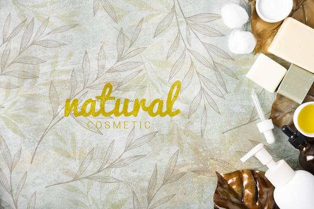Bovenaanzicht van natuurlijke huidverzorging cosmetica Gratis Psd