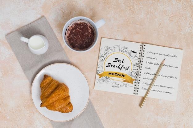 Bovenaanzicht van ontbijtconcept mock-up Premium Psd