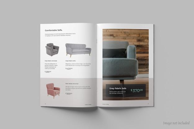 Bovenaanzicht van open brochure of catalogusomslagmodel Premium Psd