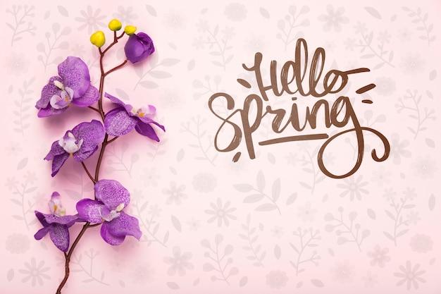Bovenaanzicht van paarse lente orchidee Gratis Psd