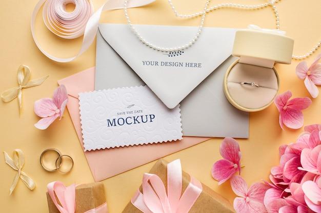 Bovenaanzicht van prachtige bruiloft concept mock-up Gratis Psd