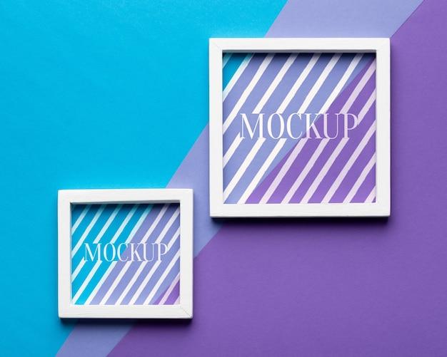 Bovenaanzicht van twee mock-up frames Gratis Psd