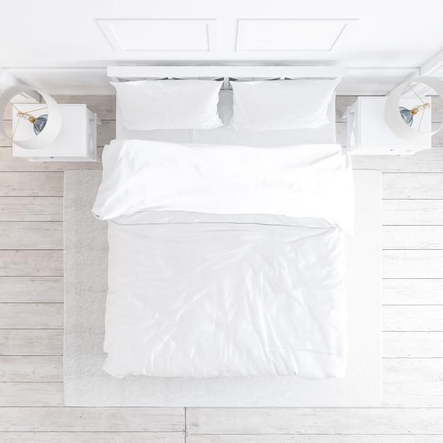 Bovenaanzicht van witte slaapkamer mockup met decoratieve elementen Gratis Psd