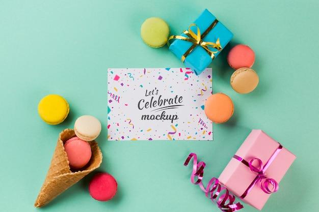 Bovenaanzicht verjaardag concept met cadeautjes Gratis Psd