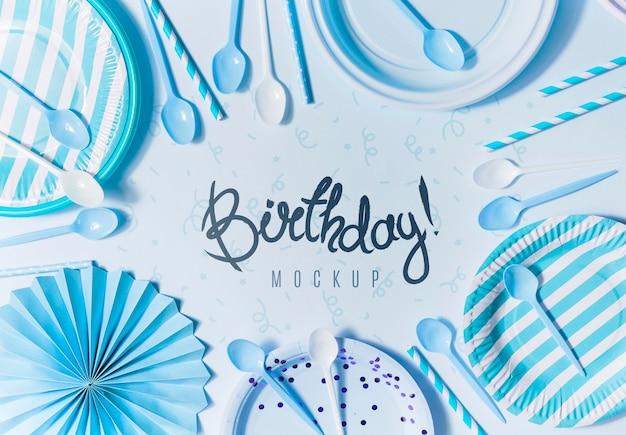 Bovenaanzicht verjaardag concept met mock-up Premium Psd