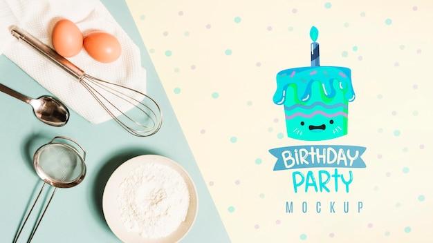 Bovenaanzicht verjaardag concept met mock-up Gratis Psd