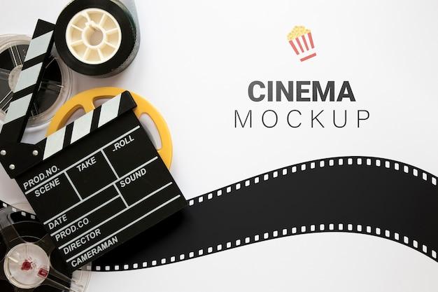 Bovenaanzicht vintage bioscoopmodel Premium Psd