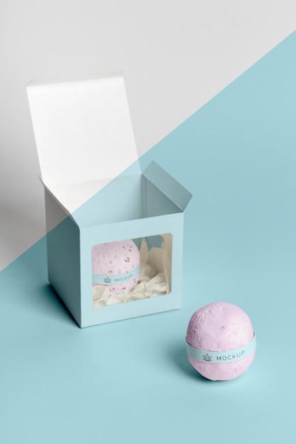 Box en bath bombs hoge hoek Premium Psd