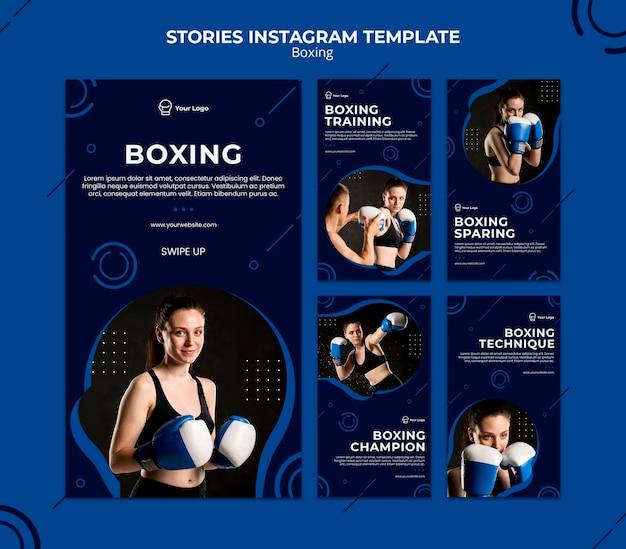Box workout sport instagram verhalen sjabloon Gratis Psd