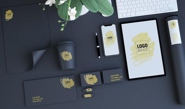 Branding-elementen bespotten Premium Psd