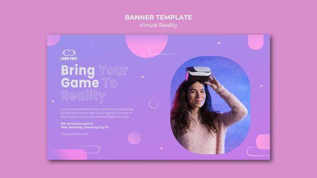 Breng je game in een sjabloon voor een virtual reality-bannermodel Gratis Psd
