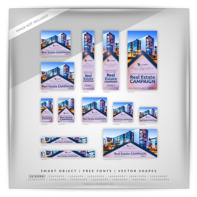 Brick real estate google y anuncios de facebook PSD Premium
