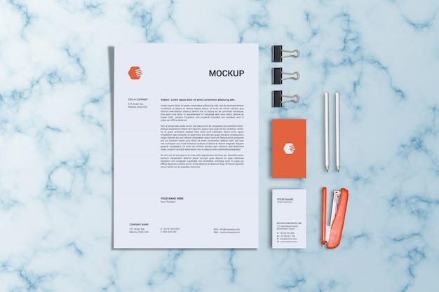 Briefpapier en verticale visitekaartjesjabloon Premium Psd
