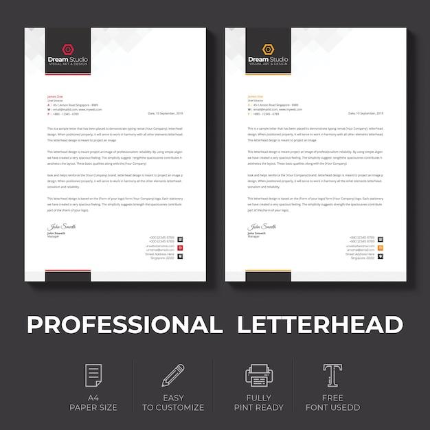 Briefpapier sjabloon in vlakke stijl Premium Psd