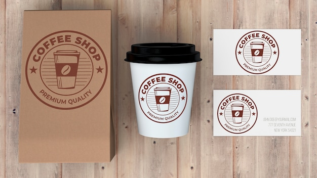 Briefpapiermodel voor koffiewinkel Gratis Psd