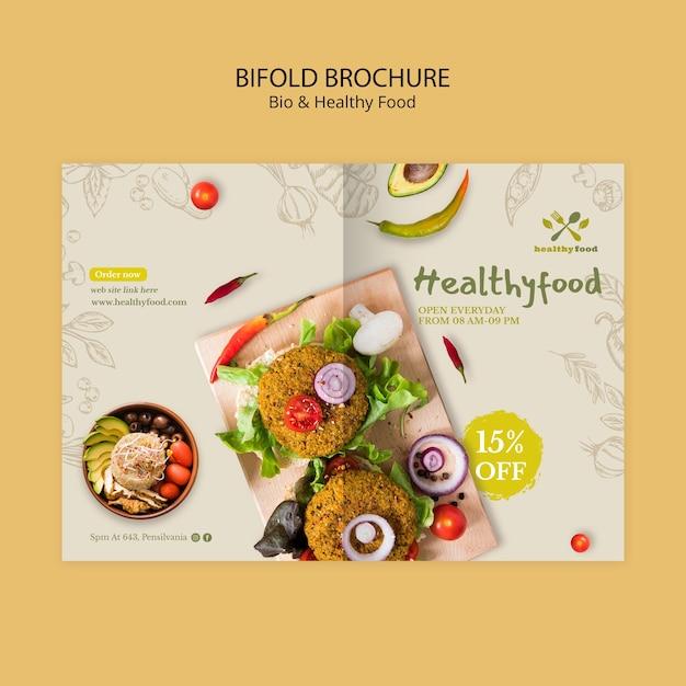 Brochure met gezond en bio-voedingssjabloon Gratis Psd