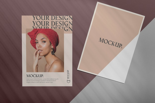 Brochure schaduw overlay mock up Gratis Psd