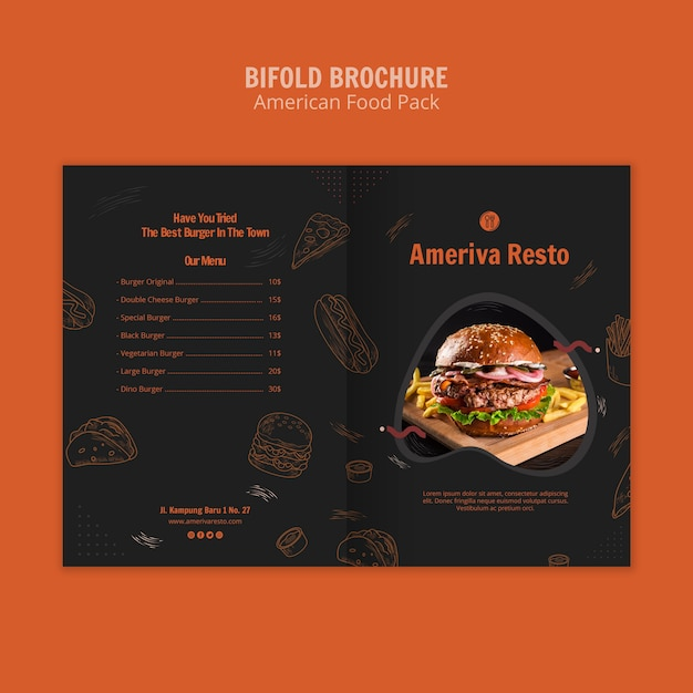 Brochure sjabloon met amerikaans eten Gratis Psd