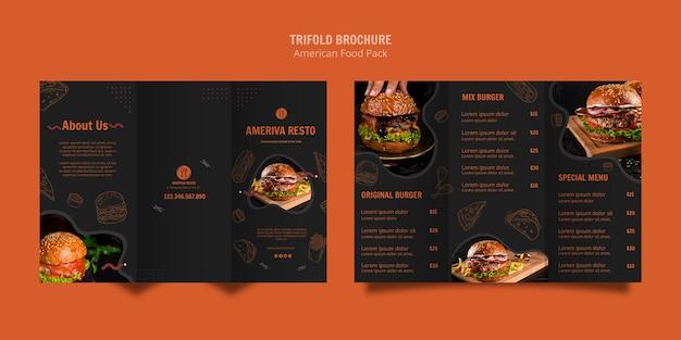 Brochuremalplaatje met amerikaans voedselconcept Gratis Psd