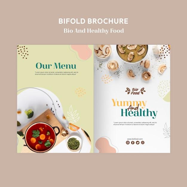 Brochuremalplaatje met gezond voedselconcept Gratis Psd