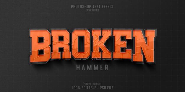 Broken hammer 3d-tekststijl effect sjabloon Premium Psd