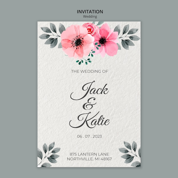Bruiloft concept uitnodiging sjabloon Gratis Psd