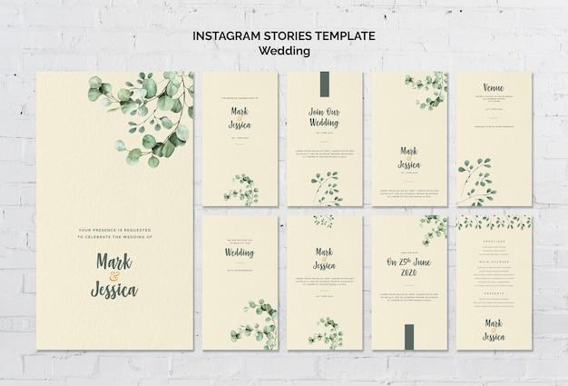 Bruiloft instagram verhalen sjabloon Gratis Psd