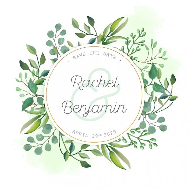 Bruiloft kaart met aquarel bladeren Gratis Psd