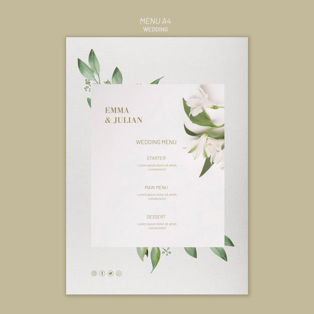 Bruiloft menu sjabloon concept Gratis Psd