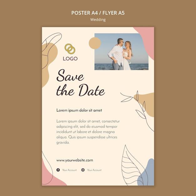 Bruiloft poster sjabloon thema Gratis Psd