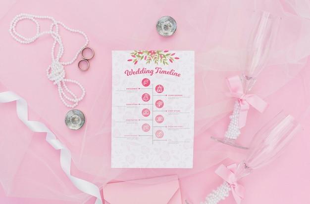 Bruiloft tijdlijn infographic met glazen champagne Gratis Psd