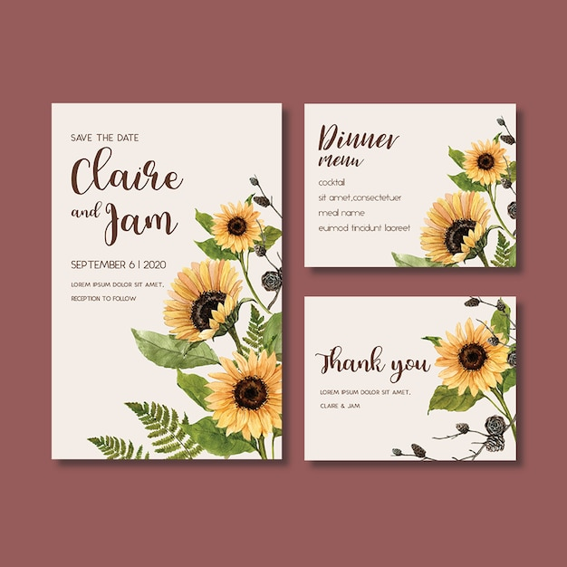 Bruiloft uitnodiging aquarel met prachtige zonnebloem thema Gratis Psd