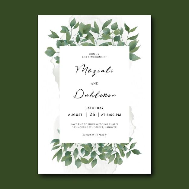Bruiloft uitnodiging sjabloon met aquarel blad gebladerte frame Premium Psd