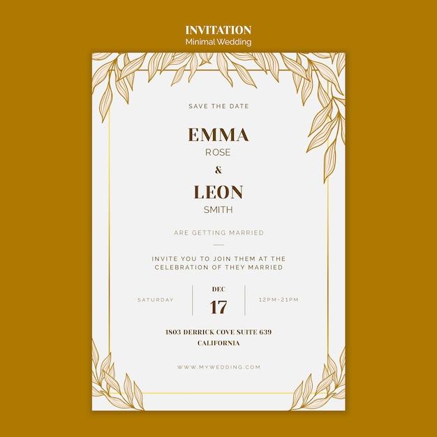 Bruiloft uitnodiging sjabloon Gratis Psd