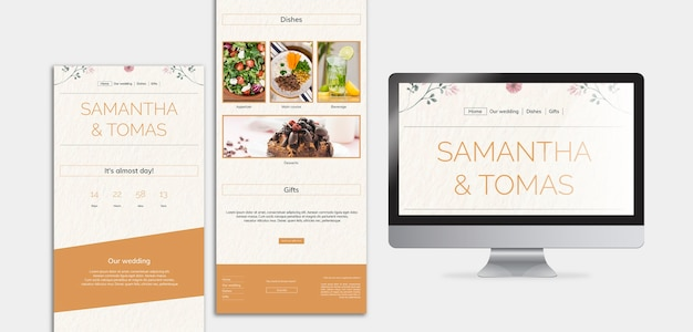 Bruiloft uitnodigingskaart en menu Gratis Psd
