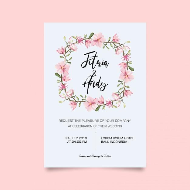 Bruiloft uitnodigingskaart Premium Psd