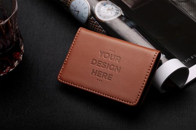 Bruin lederen portemonnee mockup Premium Psd