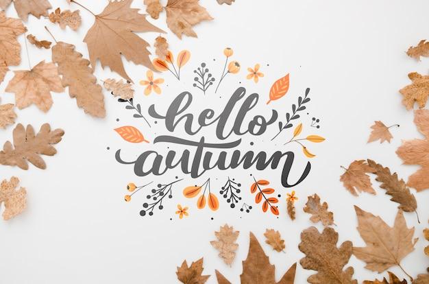 Bruine bladeren die de hello herfst op duidelijke achtergrond ontwerpen Gratis Psd