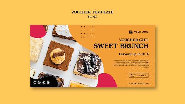 Brunch concept voucher sjabloon Gratis Psd