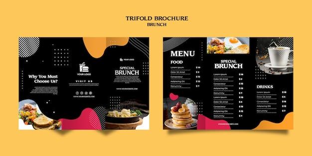Brunch driebladige brochure sjabloon Gratis Psd