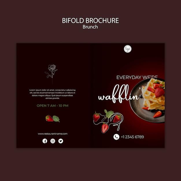Brunch restaurant ontwerp tweevoudige brochure sjabloon Gratis Psd