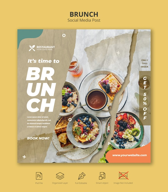 Brunch restaurant sociale media instagram postsjabloon Premium Psd