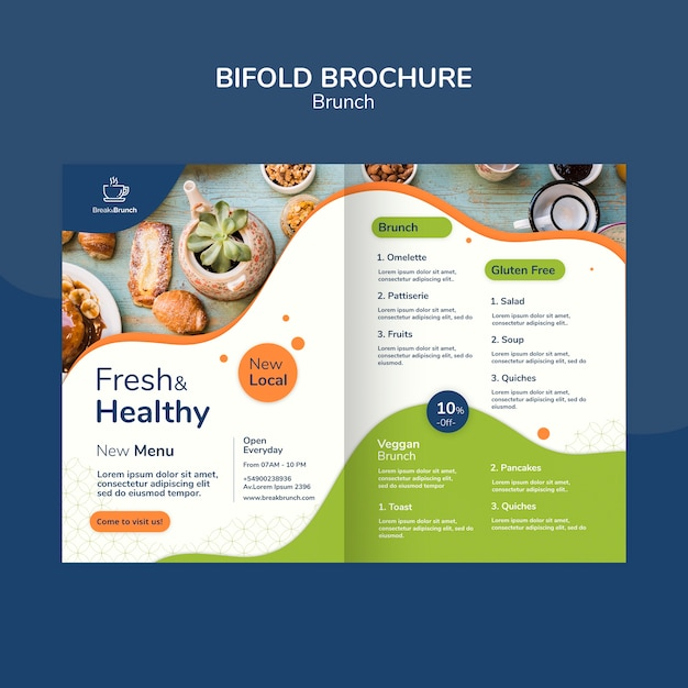 Brunch thema voor brochure sjabloon Gratis Psd