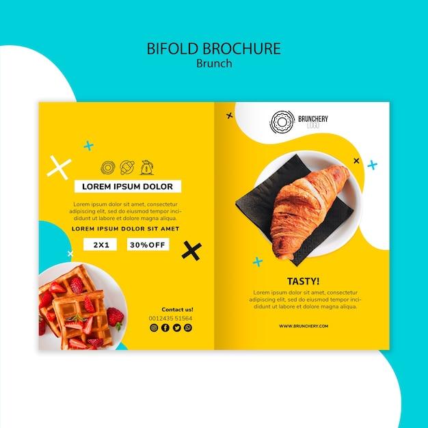 Brunch tweevoudige brochure sjabloon Gratis Psd