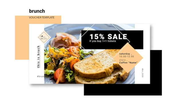 Brunch voucher sjabloon concept Gratis Psd