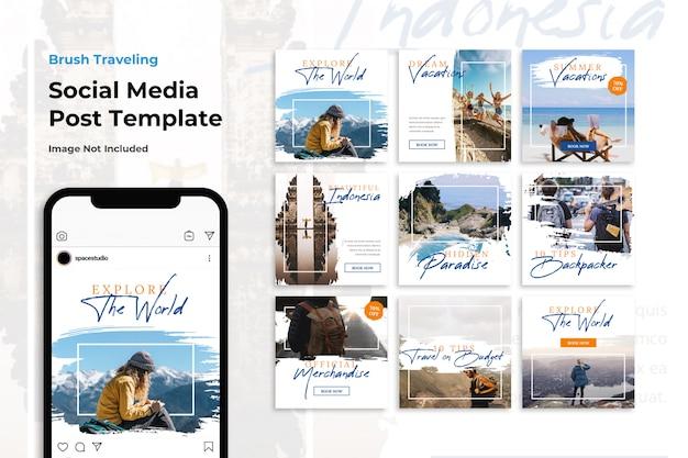 Brush travel adventure social media banner plantillas de instagram PSD Premium