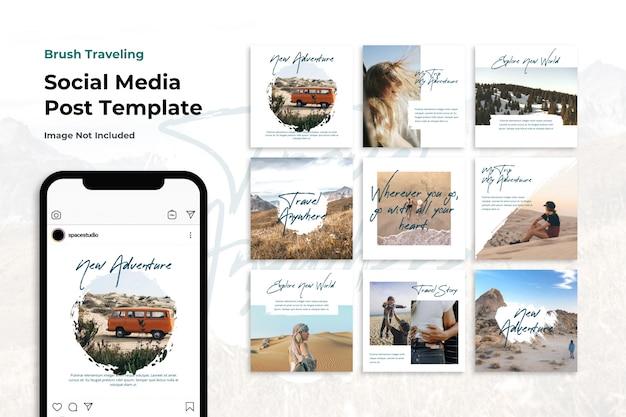 Brushed travel adventure social media banner plantillas de instagram PSD Premium